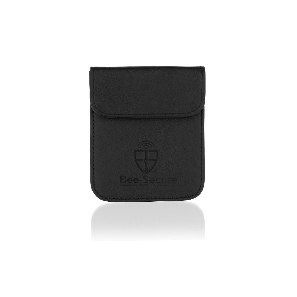 BS001_BLACK Black Leather Secure Pouch